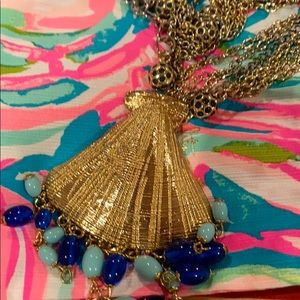 New Lilly Pulitzer Necklace Long Bombshell gold